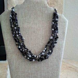 Crochet Necklace/Scarf made with Ladder Yarn- NEW